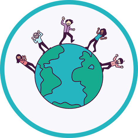 Illustration of 5 people on a globe